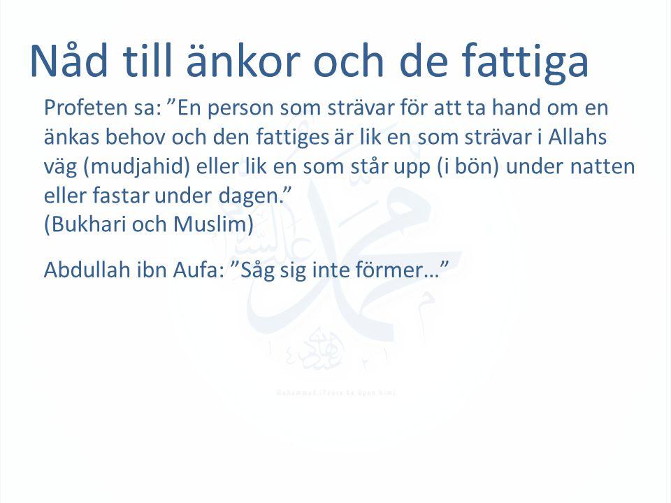 Nåd till änkor och de fattiga Profeten sa: En person som strävar för att ta hand om en änkas behov och den fattiges är lik en som strävar i Allahs väg (mudjahid) eller lik en som står upp (i bön) under natten eller fastar under dagen. (Bukhari och Muslim) Abdullah ibn Aufa: Såg sig inte förmer…