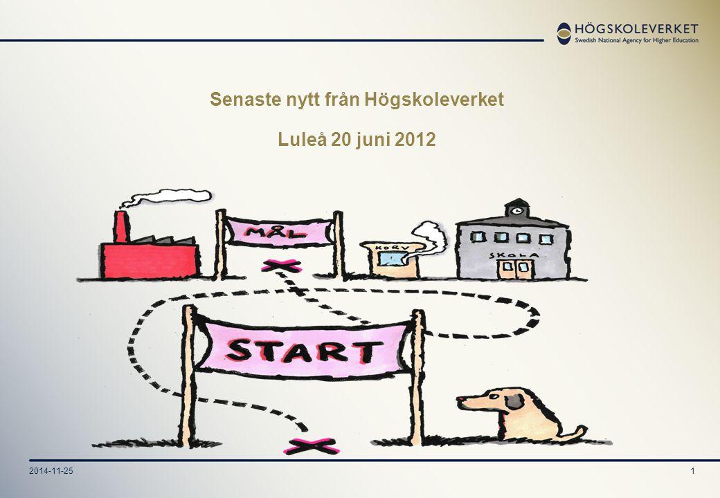 2014-11-251 Senaste nytt från Högskoleverket Luleå 20 juni 2012