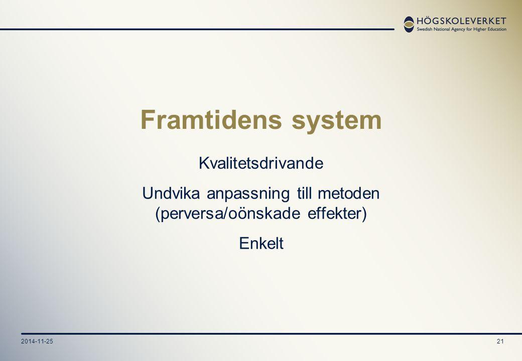 2014-11-2521 Framtidens system Kvalitetsdrivande Undvika anpassning till metoden (perversa/oönskade effekter) Enkelt