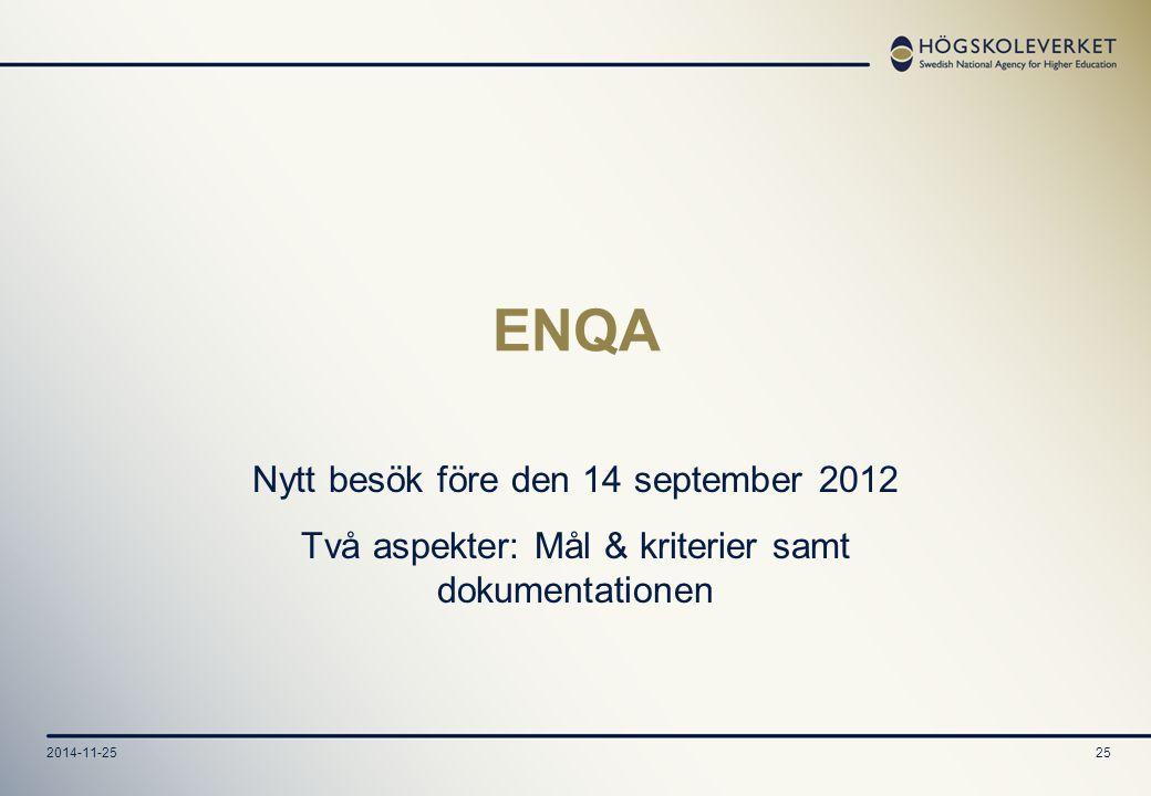 2014-11-2525 ENQA Nytt besök före den 14 september 2012 Två aspekter: Mål & kriterier samt dokumentationen