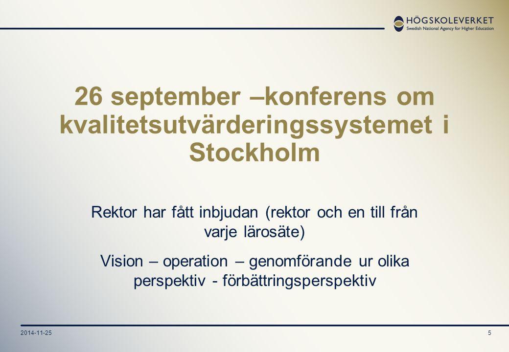 5 26 september –konferens om kvalitetsutvärderingssystemet i Stockholm Rektor har fått inbjudan (rektor och en till från varje lärosäte) Vision – operation – genomförande ur olika perspektiv - förbättringsperspektiv