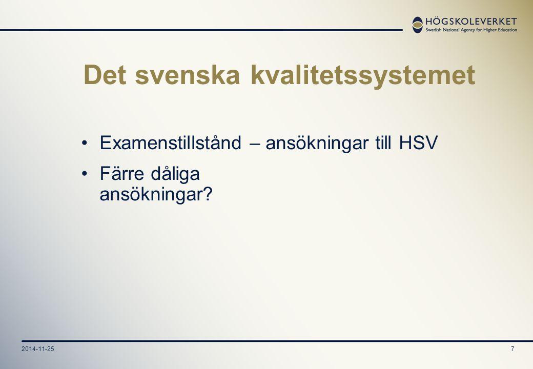 7 Det svenska kvalitetssystemet Examenstillstånd – ansökningar till HSV Färre dåliga ansökningar?