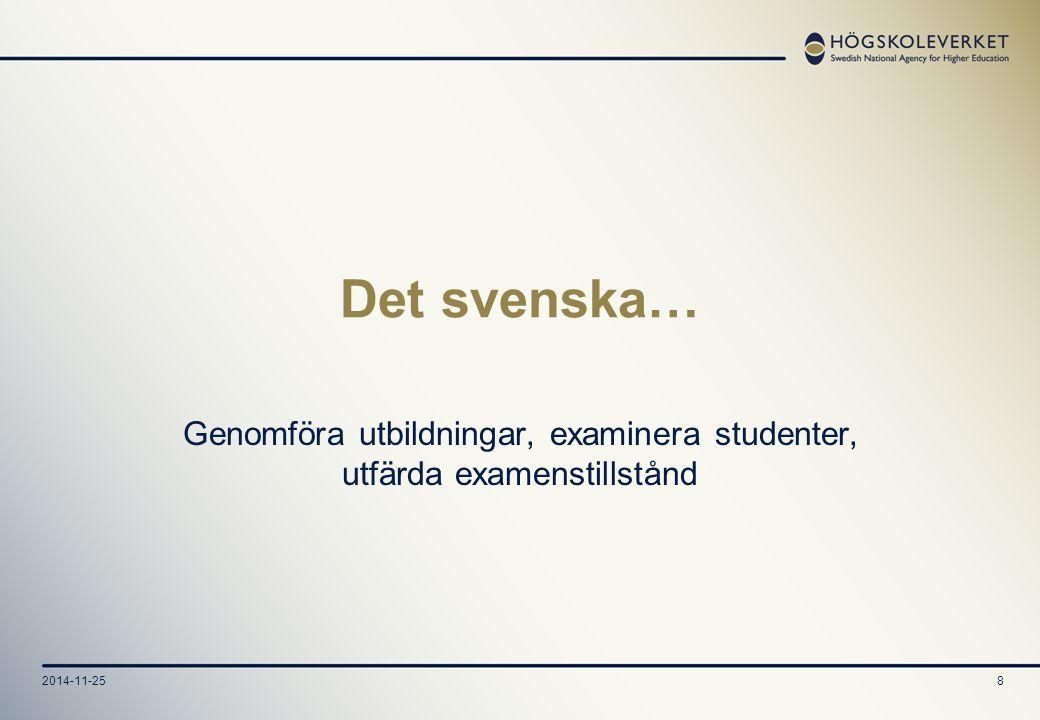 2014-11-258 Det svenska… Genomföra utbildningar, examinera studenter, utfärda examenstillstånd