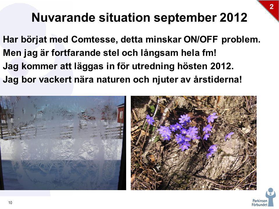10 2 Nuvarande situation september 2012 Har börjat med Comtesse, detta minskar ON/OFF problem.