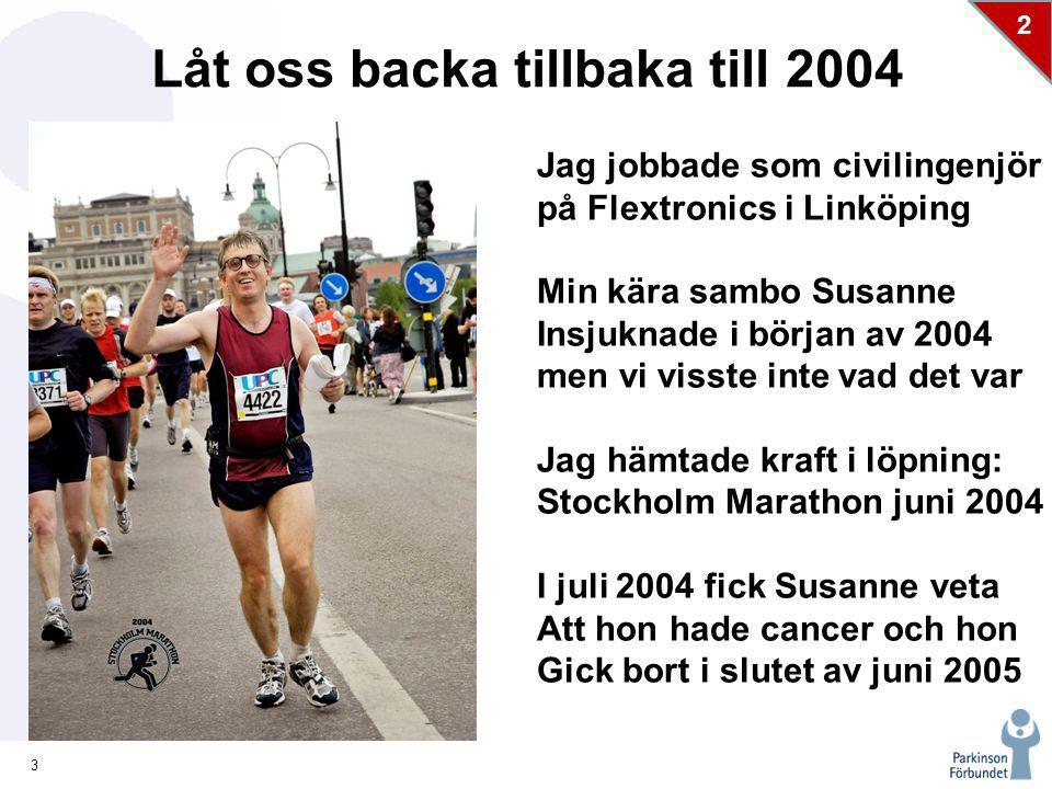 3 2 Låt oss backa tillbaka till 2004 Jag jobbade som civilingenjör på Flextronics i Linköping Min kära sambo Susanne Insjuknade i början av 2004 men vi visste inte vad det var Jag hämtade kraft i löpning: Stockholm Marathon juni 2004 I juli 2004 fick Susanne veta Att hon hade cancer och hon Gick bort i slutet av juni 2005 ck