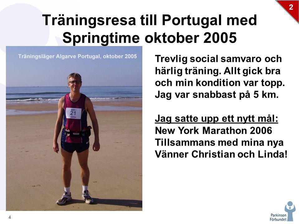 4 2 Träningsresa till Portugal med Springtime oktober 2005 Trevlig social samvaro och härlig träning.