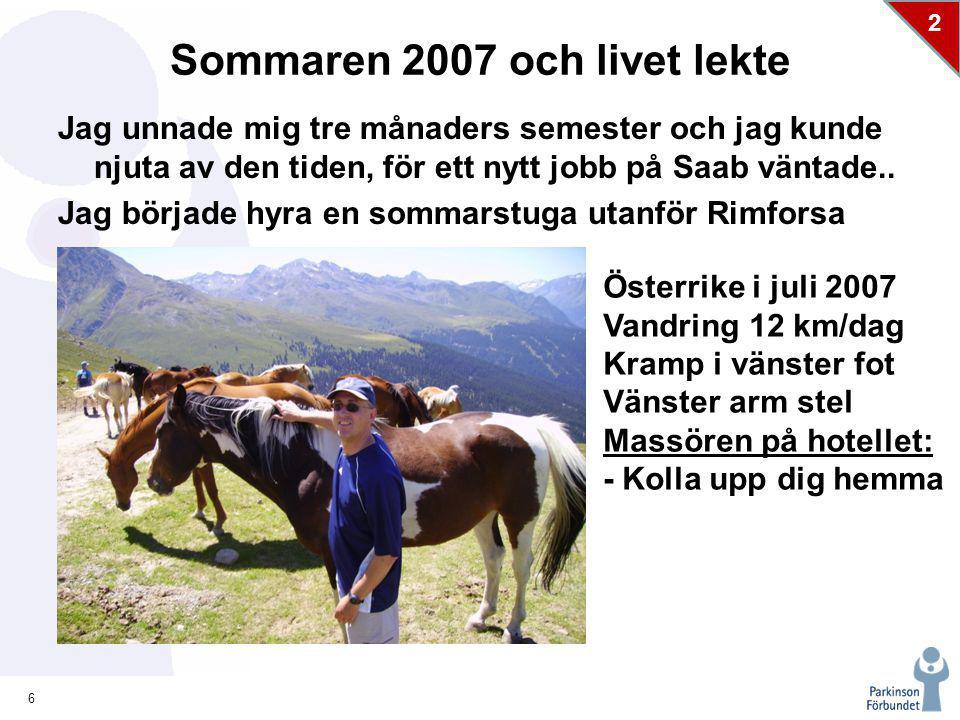 6 2 Sommaren 2007 och livet lekte Jag unnade mig tre månaders semester och jag kunde njuta av den tiden, för ett nytt jobb på Saab väntade..