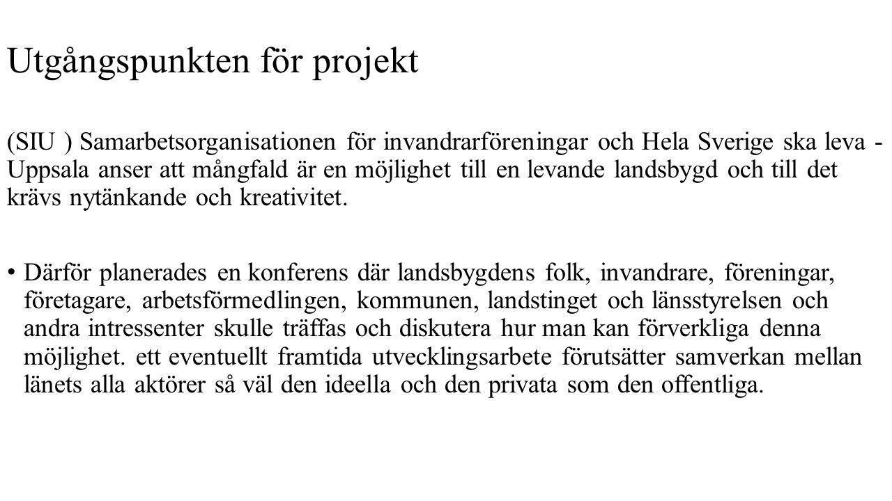 Utgångspunkten för projekt (SIU ) Samarbetsorganisationen för invandrarföreningar och Hela Sverige ska leva - Uppsala anser att mångfald är en möjlighet till en levande landsbygd och till det krävs nytänkande och kreativitet.