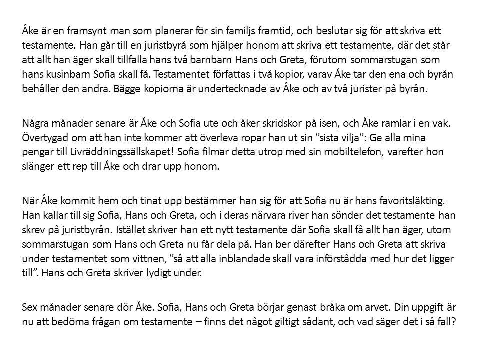 Åke är en framsynt man som planerar för sin familjs framtid, och beslutar sig för att skriva ett testamente. Han går till en juristbyrå som hjälper ho