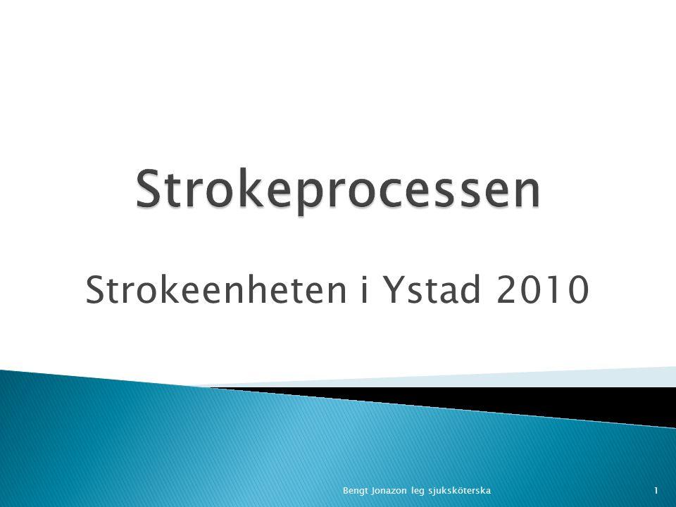 Uppdragskontrakt för 2009 1) 80% av alla stroke ska vara inlagda på strokeenheten inom 24 timmar 2) Minst 5% av alla stroke med hjärninfarkt ska ha erhållit trombolys 3) Minst 95% av alla strokepatienten ska vara registrerade i Riksstroke 2Bengt Jonazon
