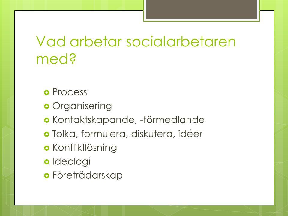 Vad arbetar socialarbetaren med?  Process  Organisering  Kontaktskapande, -förmedlande  Tolka, formulera, diskutera, idéer  Konfliktlösning  Ide