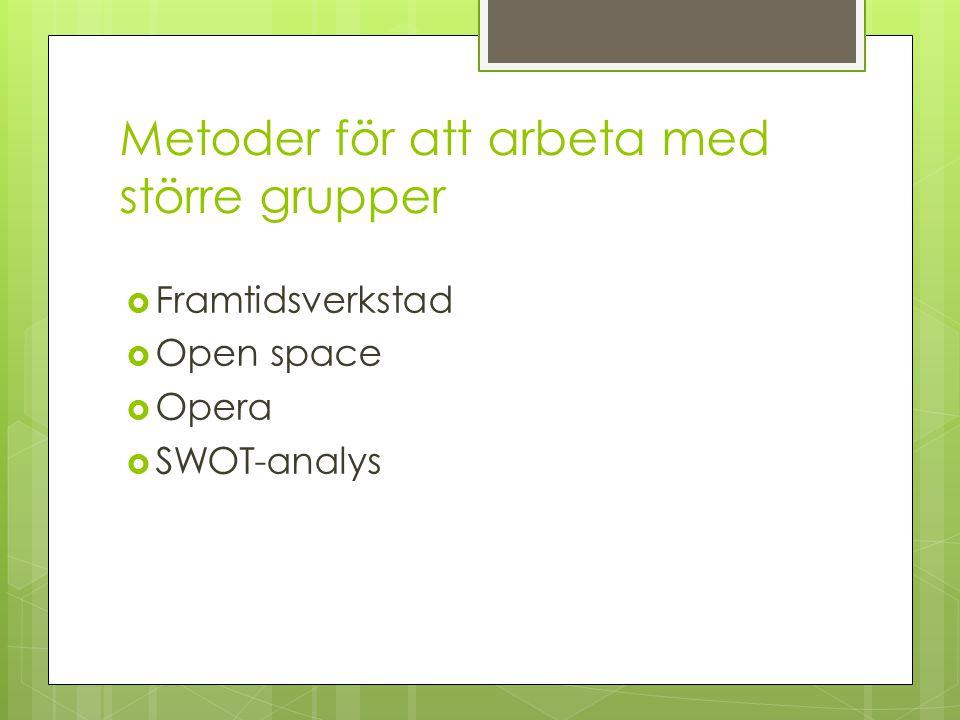 Metoder för att arbeta med större grupper  Framtidsverkstad  Open space  Opera  SWOT-analys