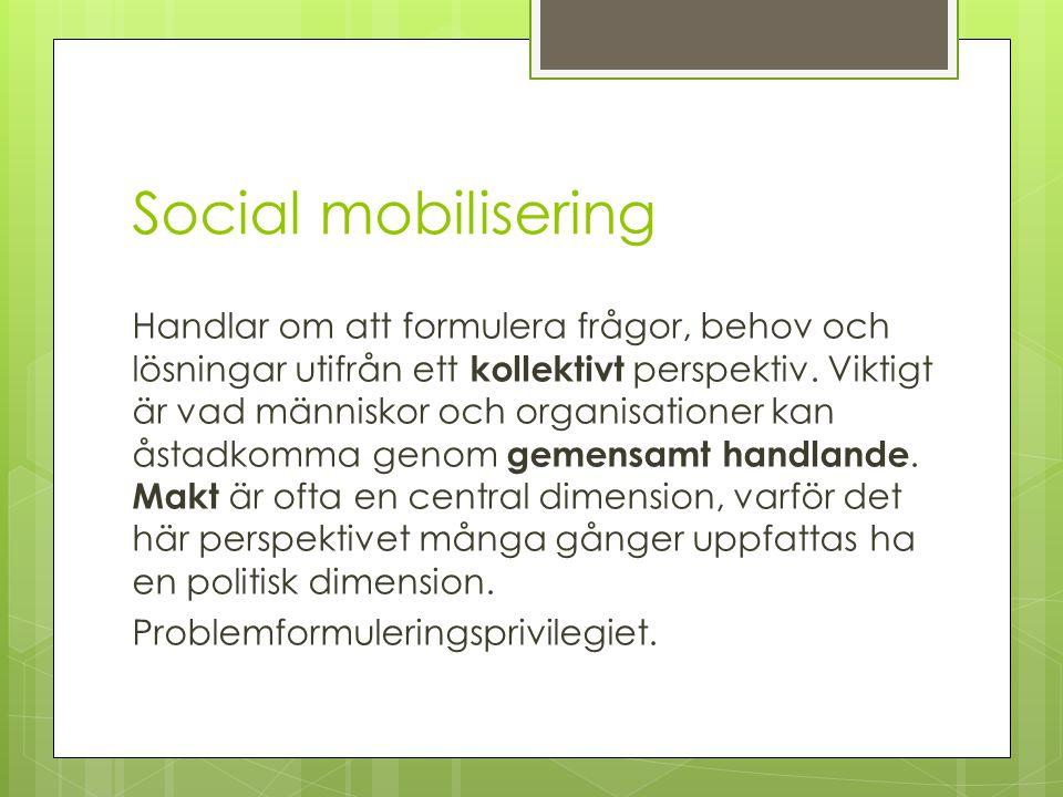 Social mobilisering Handlar om att formulera frågor, behov och lösningar utifrån ett kollektivt perspektiv. Viktigt är vad människor och organisatione