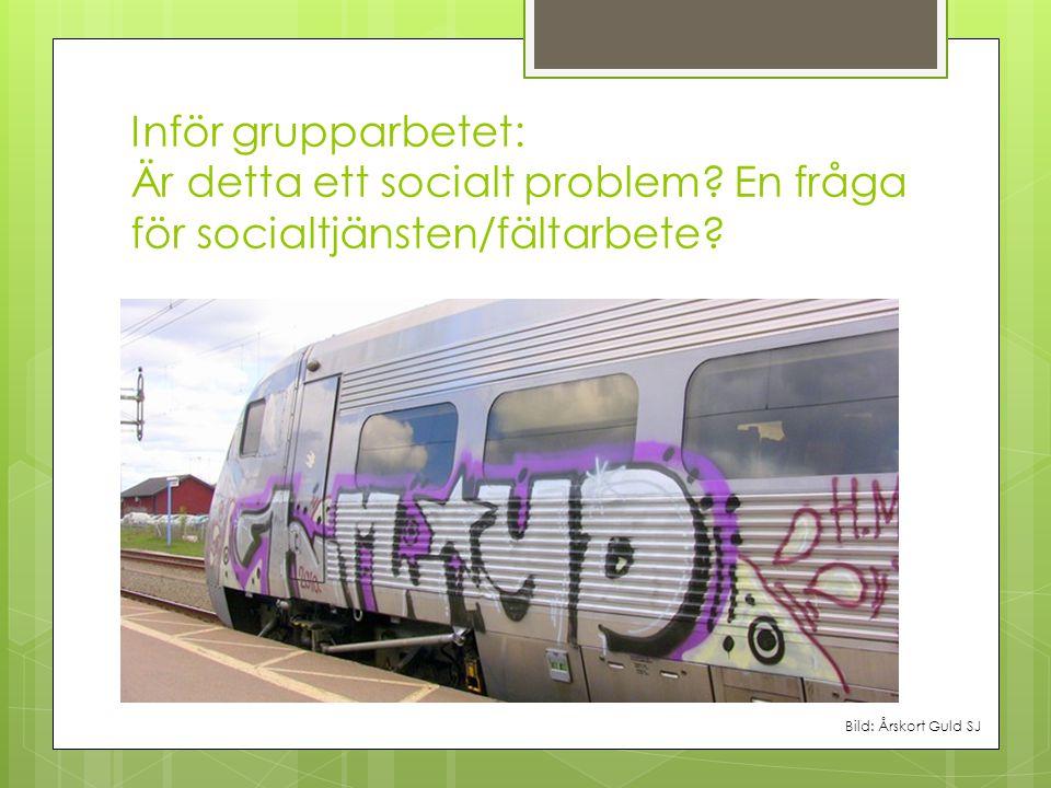 Inför grupparbetet: Är detta ett socialt problem? En fråga för socialtjänsten/fältarbete? Bild: Årskort Guld SJ