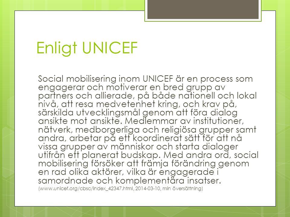 Enligt UNICEF Social mobilisering inom UNICEF är en process som engagerar och motiverar en bred grupp av partners och allierade, på både nationell och