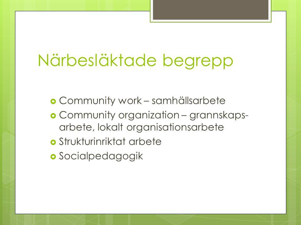 Närbesläktade begrepp  Community work – samhällsarbete  Community organization – grannskaps- arbete, lokalt organisationsarbete  Strukturinriktat a