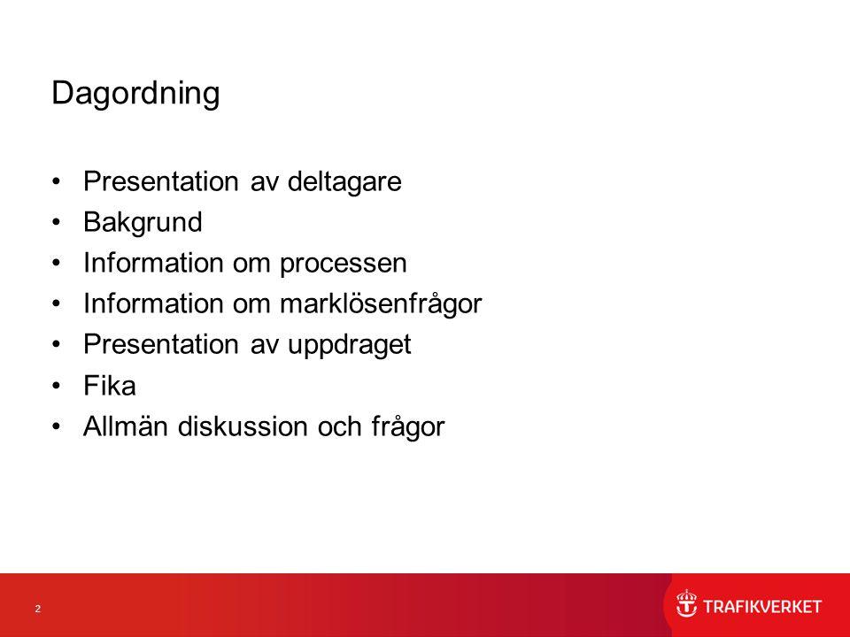 2 Dagordning Presentation av deltagare Bakgrund Information om processen Information om marklösenfrågor Presentation av uppdraget Fika Allmän diskussi