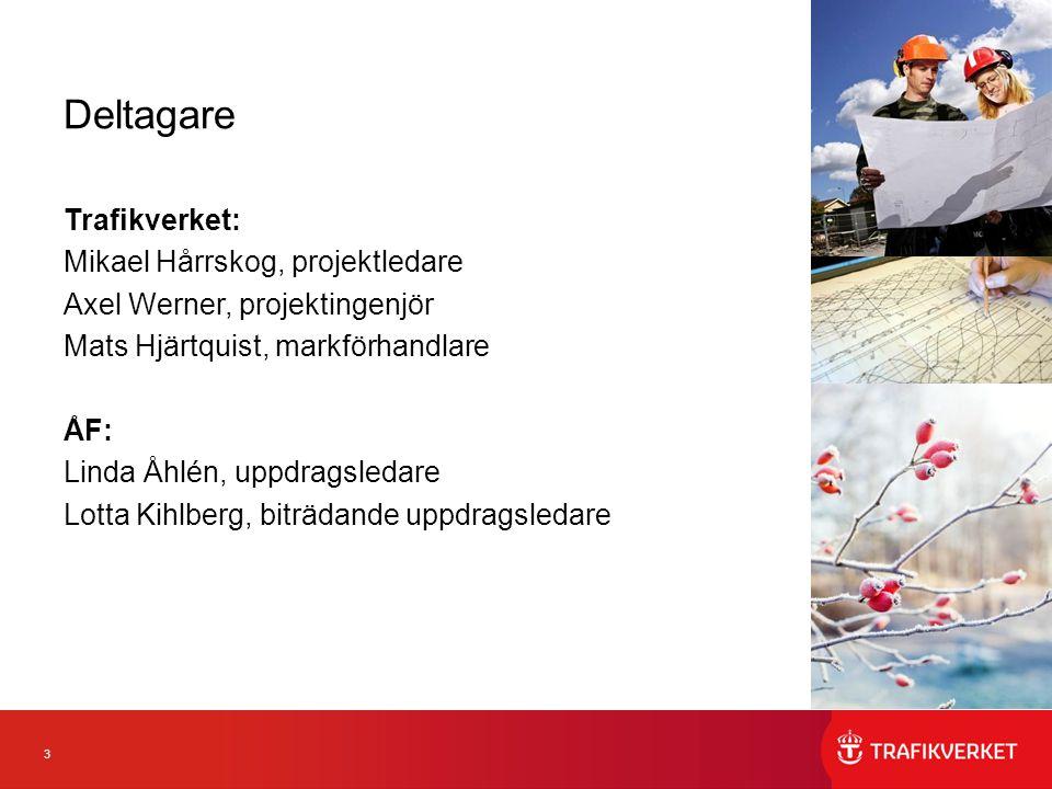 3 Deltagare Trafikverket: Mikael Hårrskog, projektledare Axel Werner, projektingenjör Mats Hjärtquist, markförhandlare ÅF: Linda Åhlén, uppdragsledare