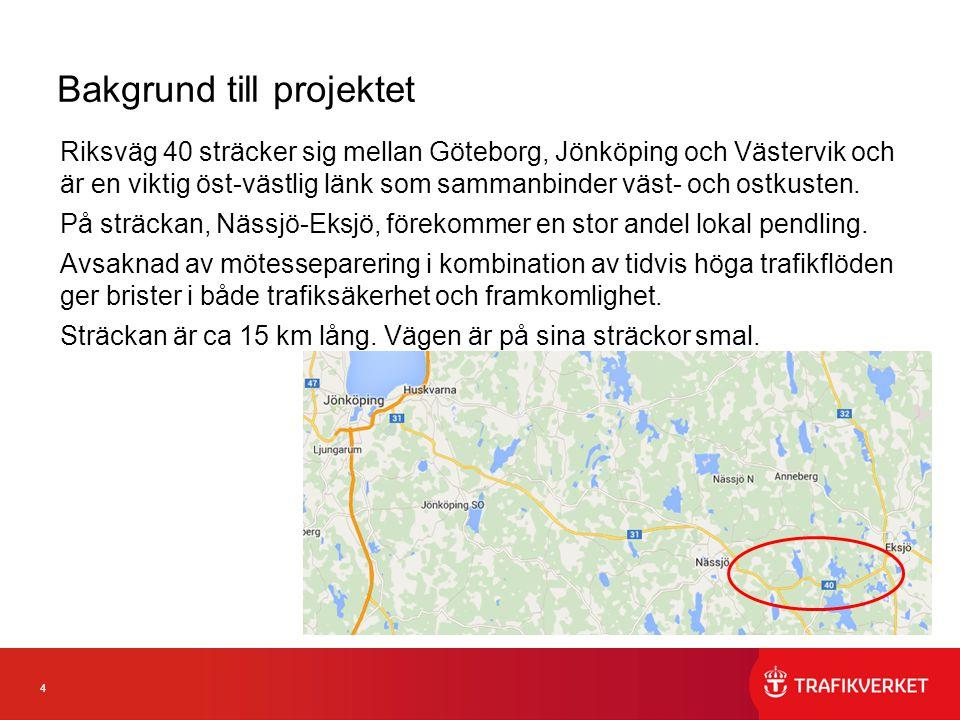 4 Bakgrund till projektet Riksväg 40 sträcker sig mellan Göteborg, Jönköping och Västervik och är en viktig öst-västlig länk som sammanbinder väst- oc
