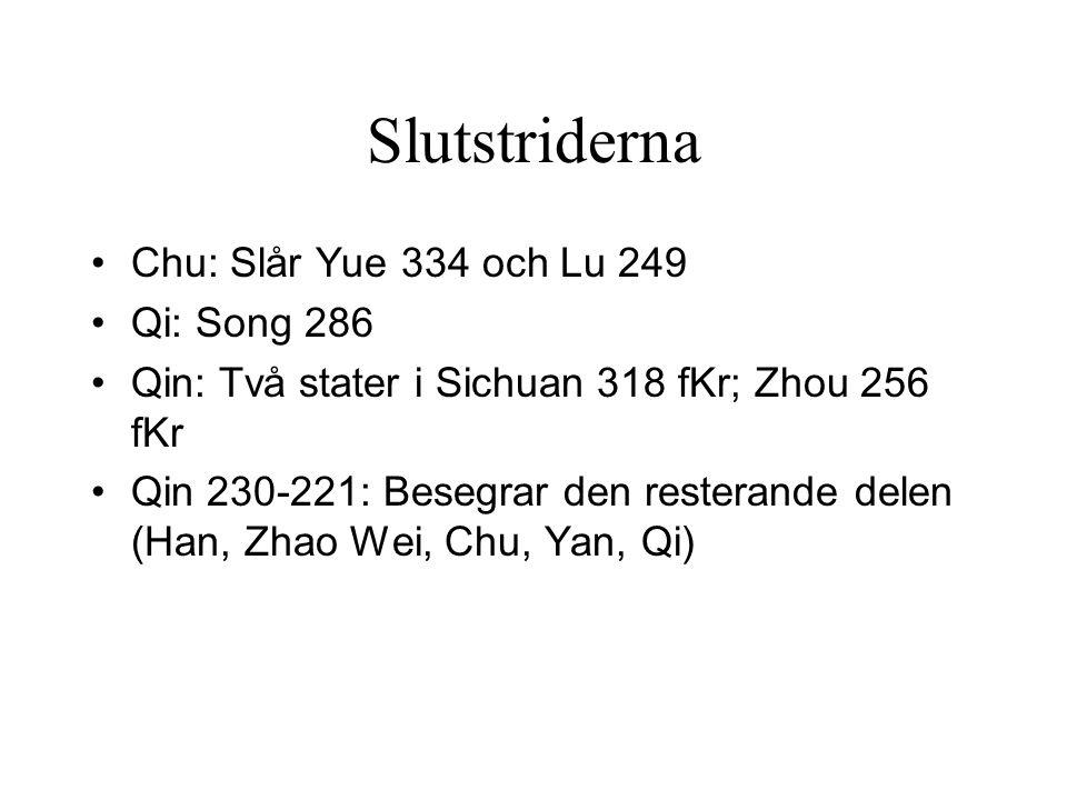 Slutstriderna Chu: Slår Yue 334 och Lu 249 Qi: Song 286 Qin: Två stater i Sichuan 318 fKr; Zhou 256 fKr Qin 230-221: Besegrar den resterande delen (Han, Zhao Wei, Chu, Yan, Qi)