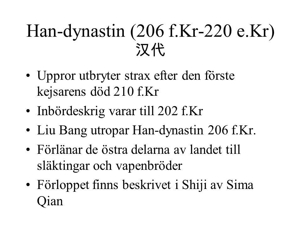 Han-dynastin (206 f.Kr-220 e.Kr) 汉代 Uppror utbryter strax efter den förste kejsarens död 210 f.Kr Inbördeskrig varar till 202 f.Kr Liu Bang utropar Han-dynastin 206 f.Kr.