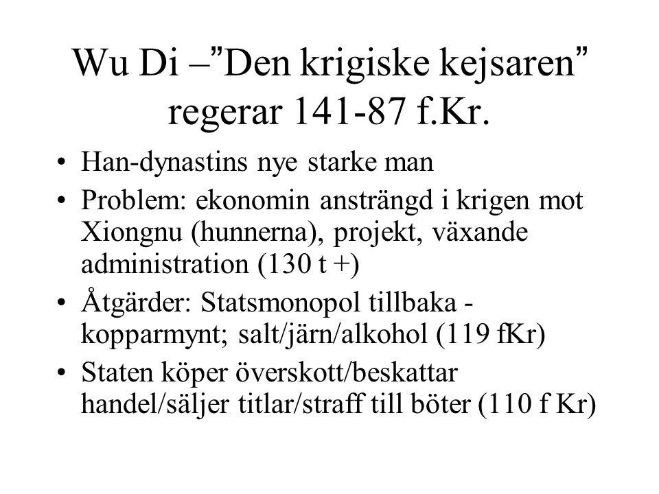 Wu Di – Den krigiske kejsaren regerar 141-87 f.Kr.