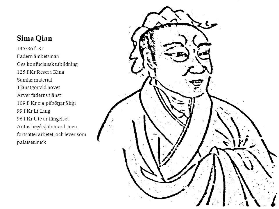 Sima Qian 145-86 f. Kr Fadern ämbetsman Ges konfuciansk utbildning 125 f.Kr Reser i Kina Samlar material Tjänstgör vid hovet Ärver faderns tjänst 109