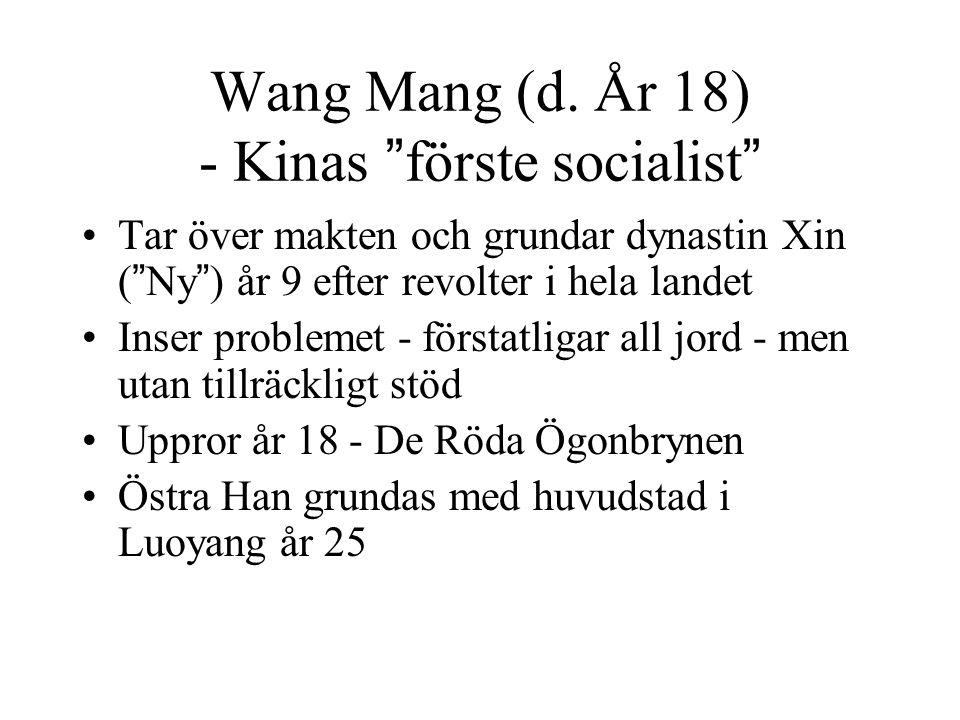 """Wang Mang (d. År 18) - Kinas """"förste socialist"""" Tar över makten och grundar dynastin Xin (""""Ny"""") år 9 efter revolter i hela landet Inser problemet - fö"""