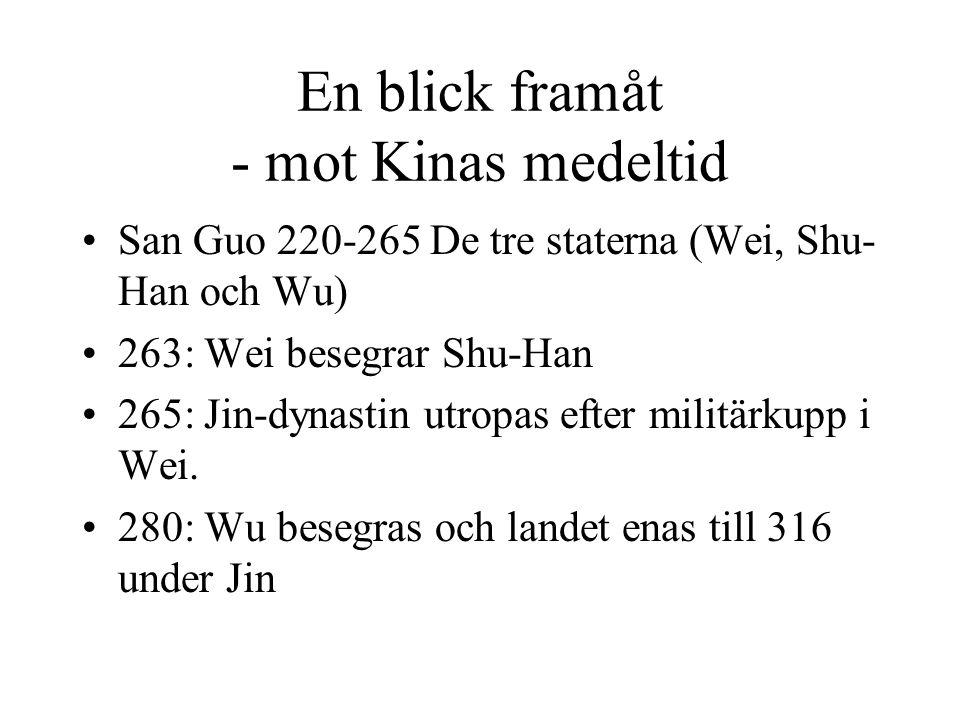 En blick framåt - mot Kinas medeltid San Guo 220-265 De tre staterna (Wei, Shu- Han och Wu) 263: Wei besegrar Shu-Han 265: Jin-dynastin utropas efter militärkupp i Wei.