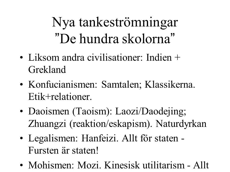 """Nya tankeströmningar """"De hundra skolorna"""" Liksom andra civilisationer: Indien + Grekland Konfucianismen: Samtalen; Klassikerna. Etik+relationer. Daois"""