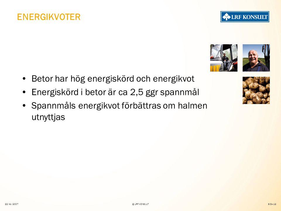 SIDA 12 22 nov 2007© LRF KONSULT ENERGIKVOTER Betor har hög energiskörd och energikvot Energiskörd i betor är ca 2,5 ggr spannmål Spannmåls energikvot förbättras om halmen utnyttjas
