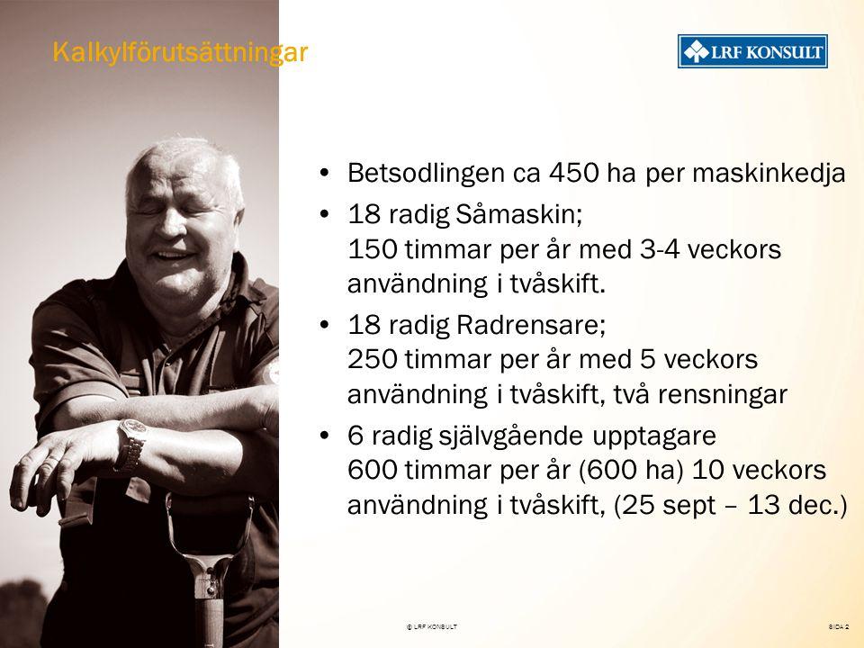 SIDA 2 22 nov 2007© LRF KONSULT Betsodlingen ca 450 ha per maskinkedja 18 radig Såmaskin; 150 timmar per år med 3-4 veckors användning i tvåskift.