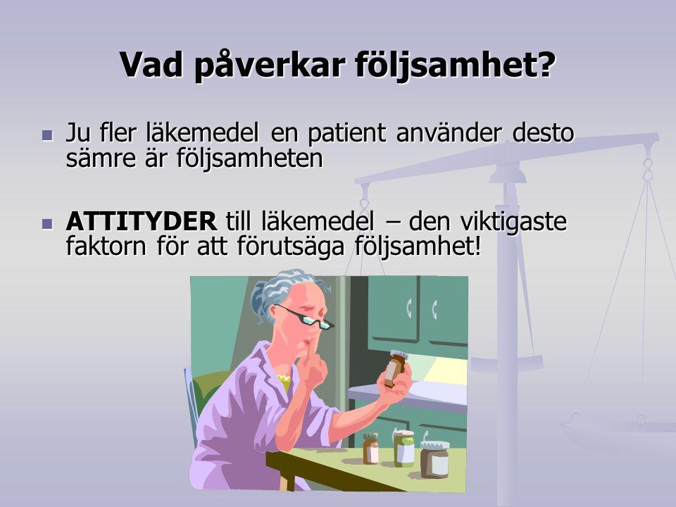 Vad påverkar följsamhet? Ju fler läkemedel en patient använder desto sämre är följsamheten Ju fler läkemedel en patient använder desto sämre är följsa