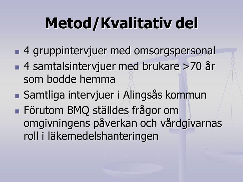 Metod/Kvalitativ del 4 gruppintervjuer med omsorgspersonal 4 gruppintervjuer med omsorgspersonal 4 samtalsintervjuer med brukare >70 år som bodde hemm
