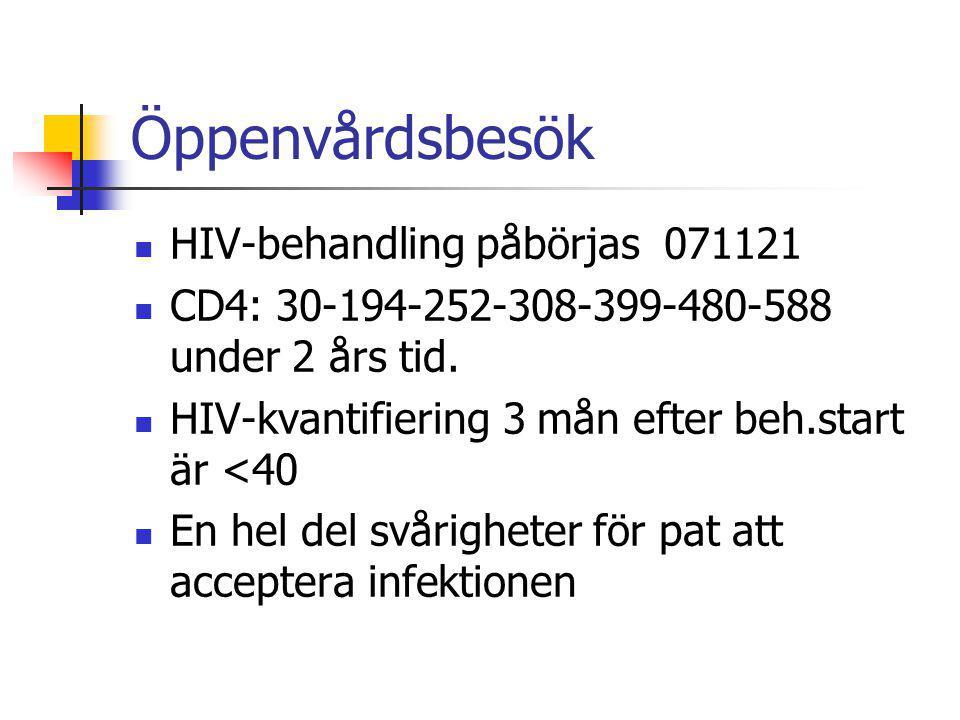 Öppenvårdsbesök HIV-behandling påbörjas 071121 CD4: 30-194-252-308-399-480-588 under 2 års tid. HIV-kvantifiering 3 mån efter beh.start är <40 En hel