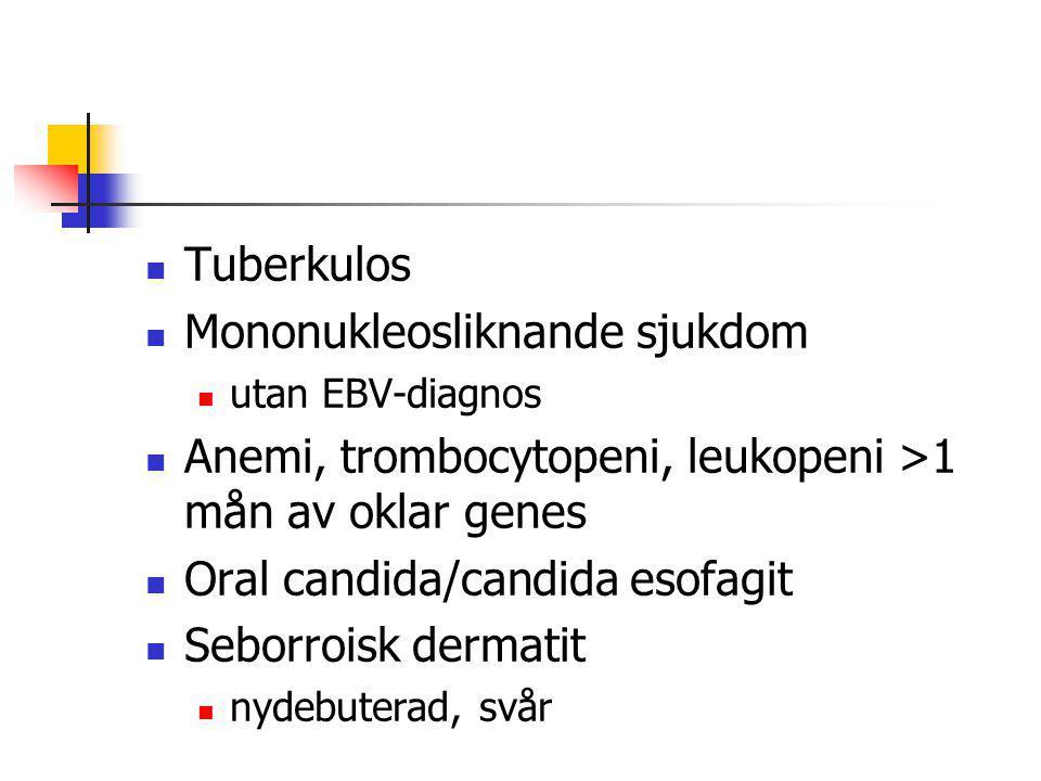 Tuberkulos Mononukleosliknande sjukdom utan EBV-diagnos Anemi, trombocytopeni, leukopeni >1 mån av oklar genes Oral candida/candida esofagit Seborrois