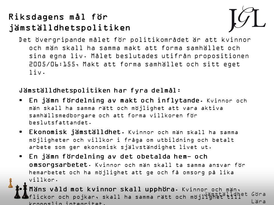 Jämställdhet Göra Lära Riksdagens mål för jämställdhetspolitiken Det övergripande målet för politikområdet är att kvinnor och män skall ha samma makt