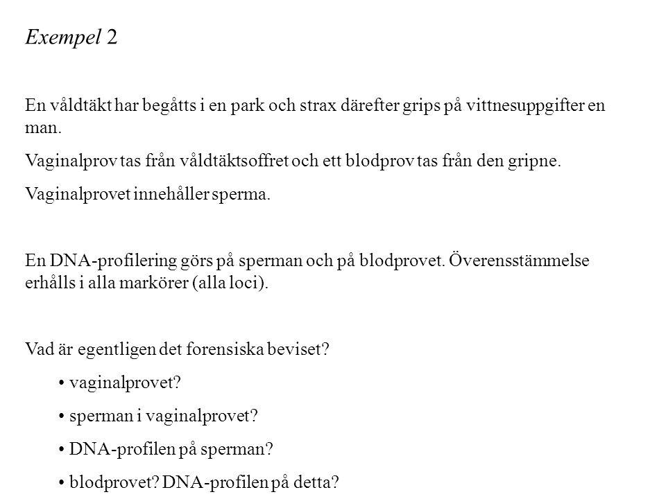 Exempel 2 En våldtäkt har begåtts i en park och strax därefter grips på vittnesuppgifter en man.