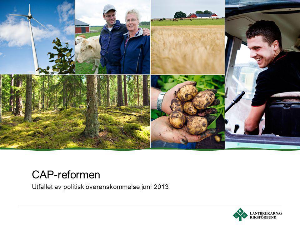 Sid 2 | Lantbrukarnas Riksförbund Tidsplan för CAP-reformen Febr 2013: Budgetuppgörelse vid EU-toppmöte Juni 2013: Överenskommelse mellan rådet, parla- mentet och kommissionen om budget och CAP-regler Ny EU-budget i kraft 2014 Nya CAP-regler i huvudsak 2015 (i vissa fall 2014) Tillämpningsförslag gårdsstöd Sverige hösten 2013 Förslag till svenskt LBP skickas till Bryssel vid årsskiftet 2013/14