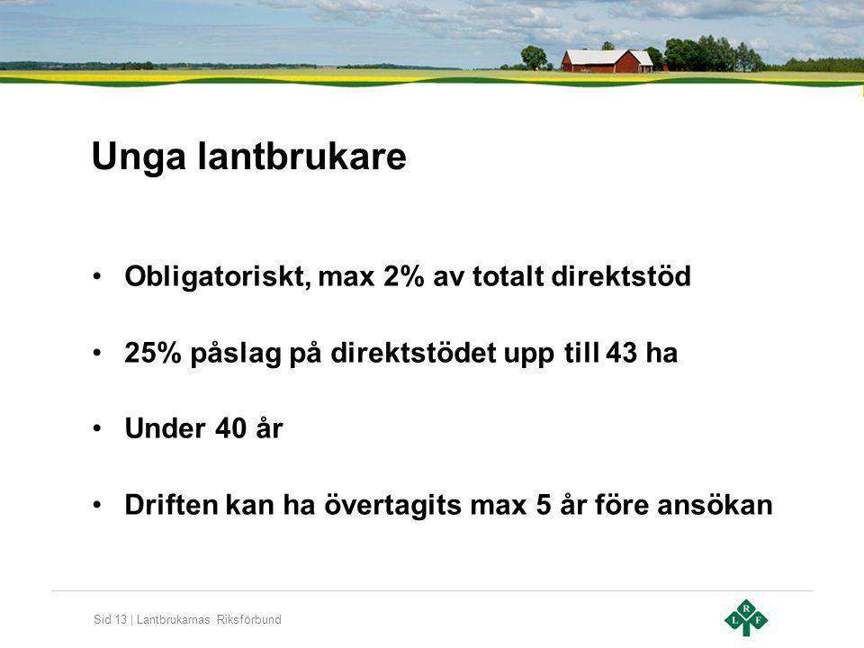 Sid 13 | Lantbrukarnas Riksförbund Unga lantbrukare Obligatoriskt, max 2% av totalt direktstöd 25% påslag på direktstödet upp till 43 ha Under 40 år D