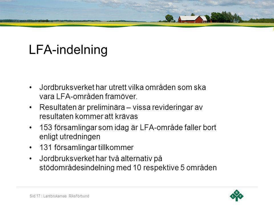Sid 17 | Lantbrukarnas Riksförbund LFA-indelning Jordbruksverket har utrett vilka områden som ska vara LFA-områden framöver. Resultaten är preliminära