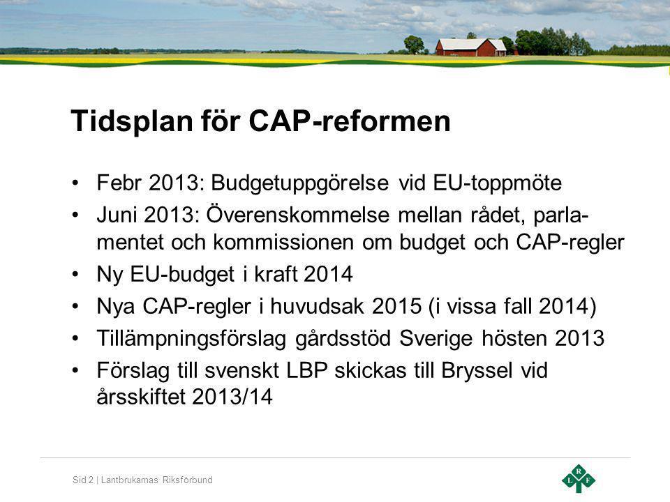 Sid 3 | Lantbrukarnas Riksförbund Viktiga delar i CAP-reformen Omfördelning av direktstöd (gårdsstöd) Kopplade stöd Förhöjt gårdsstöd till unga lantbrukare Förgröning av direktstöd Ny stödrättsutdelning Flexibilitet (budgetmässig) mellan direktstöd och LBP Landsbygdsprogrammets storlek och utformning