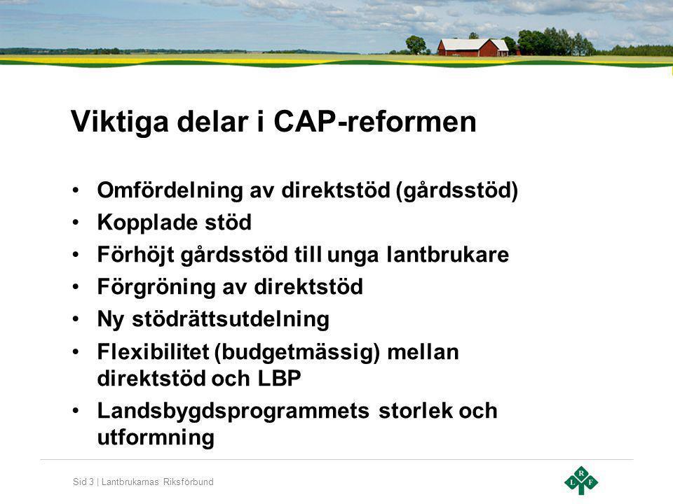Sid 3 | Lantbrukarnas Riksförbund Viktiga delar i CAP-reformen Omfördelning av direktstöd (gårdsstöd) Kopplade stöd Förhöjt gårdsstöd till unga lantbr