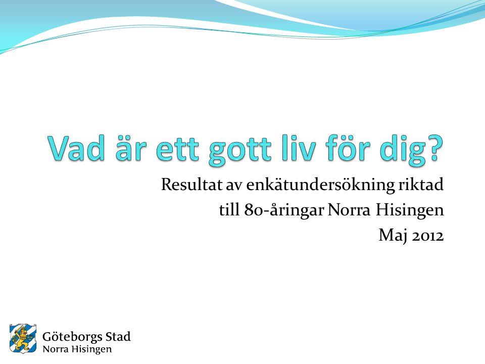 Resultat av enkätundersökning riktad till 80-åringar Norra Hisingen Maj 2012