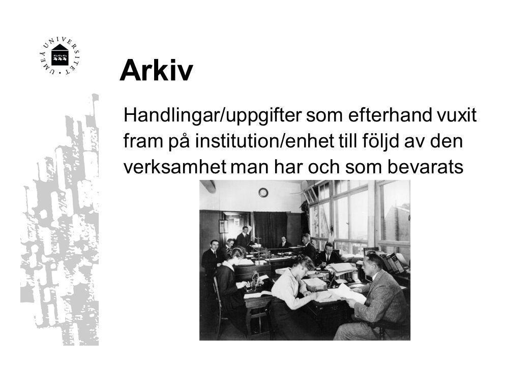 Arkiv Handlingar/uppgifter som efterhand vuxit fram på institution/enhet till följd av den verksamhet man har och som bevarats