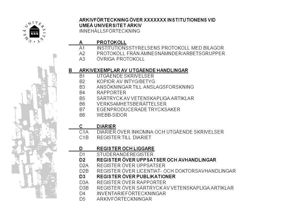 ARKIVFÖRTECKNING ÖVER XXXXXXX INSTITUTIONENS VID UMEÅ UNIVERSITET ARKIV INNEHÅLLSFÖRTECKNING APROTOKOLL A1INSTITUTIONSSTYRELSENS PROTOKOLL MED BILAGOR