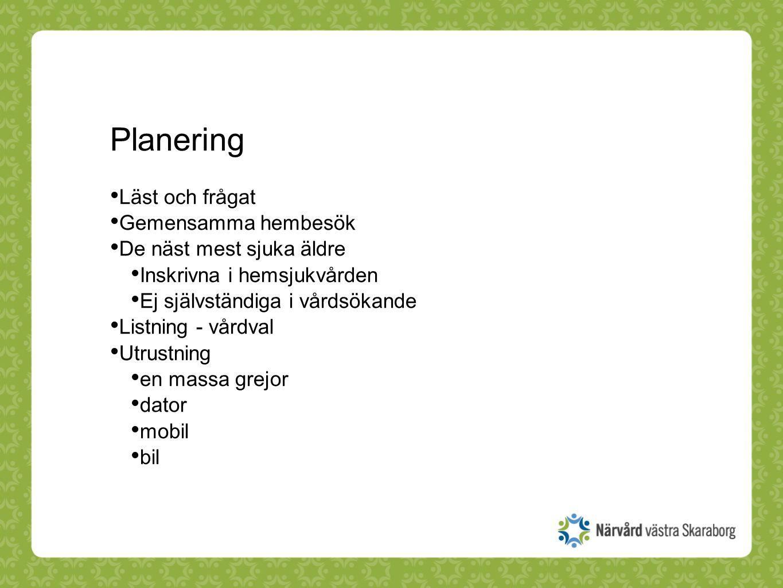 Planering Läst och frågat Gemensamma hembesök De näst mest sjuka äldre Inskrivna i hemsjukvården Ej självständiga i vårdsökande Listning - vårdval Utr