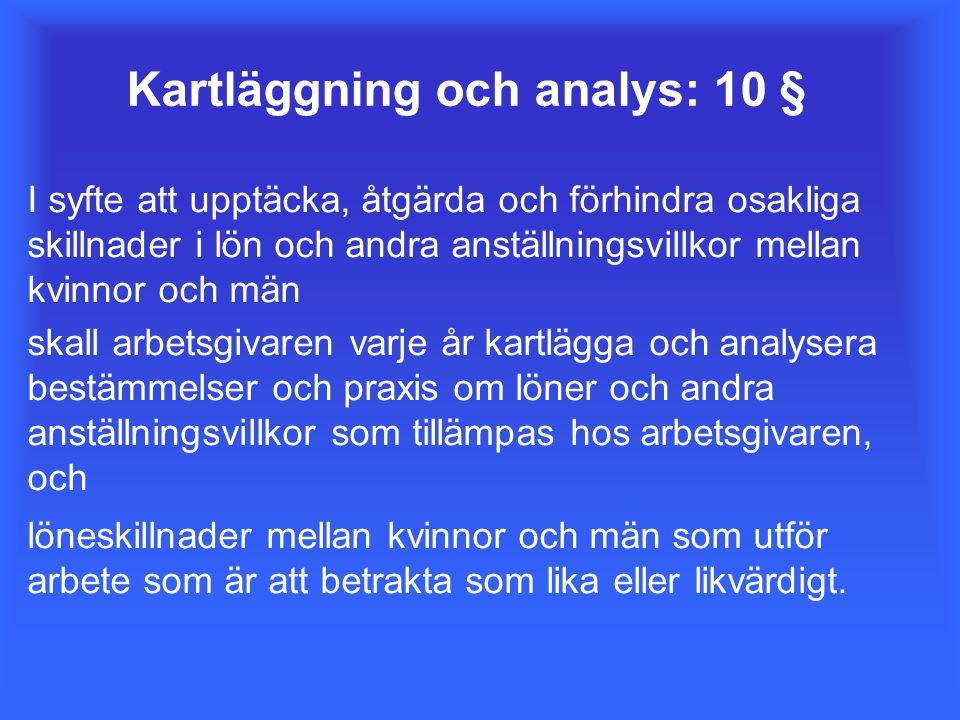 Kartläggning och analys: 10 § I syfte att upptäcka, åtgärda och förhindra osakliga skillnader i lön och andra anställningsvillkor mellan kvinnor och m