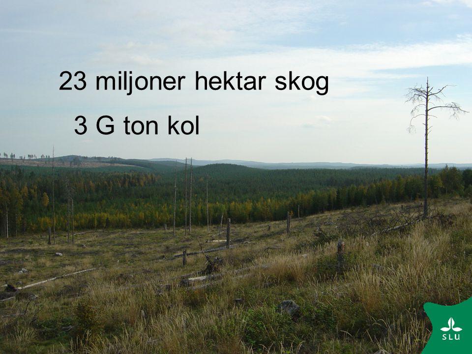 Slutsats Sveriges skogar är en kolsänka Hela omloppstiden är viktig för skogens kolbalans Kort etableringstid, hög produktion, aktiv skötsel, omloppstidens längd och gödsling gynnar kolinbindningen Hur skogen används efter avverkning är av betydelse Den dikade skogsmarken är en källa för växthusgaser, särskilt näringsrika bestånd avger mycket lustgas