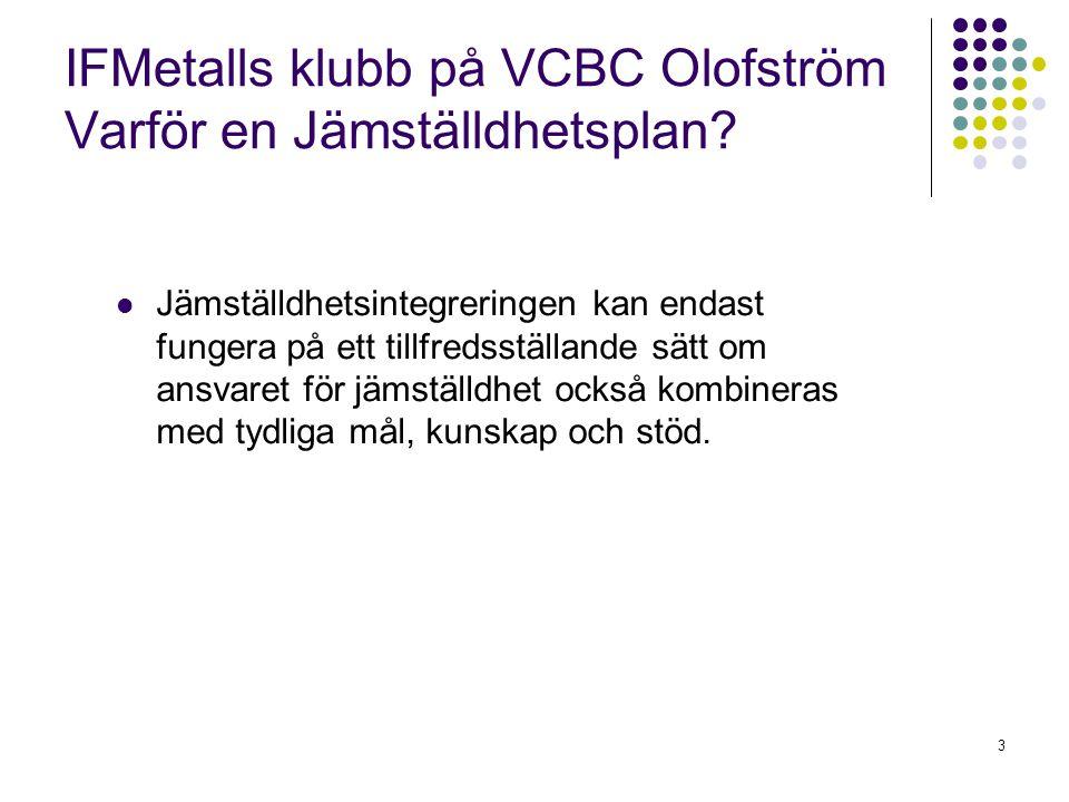 4 IFMetalls klubb på VCBC Olofström Jämställdhetsplan 2007 Arbetsförhållanden Arbetsförhållandena inom den fackliga organisationen ska vara sådana att de lämpar sig för både kvinnor och män.